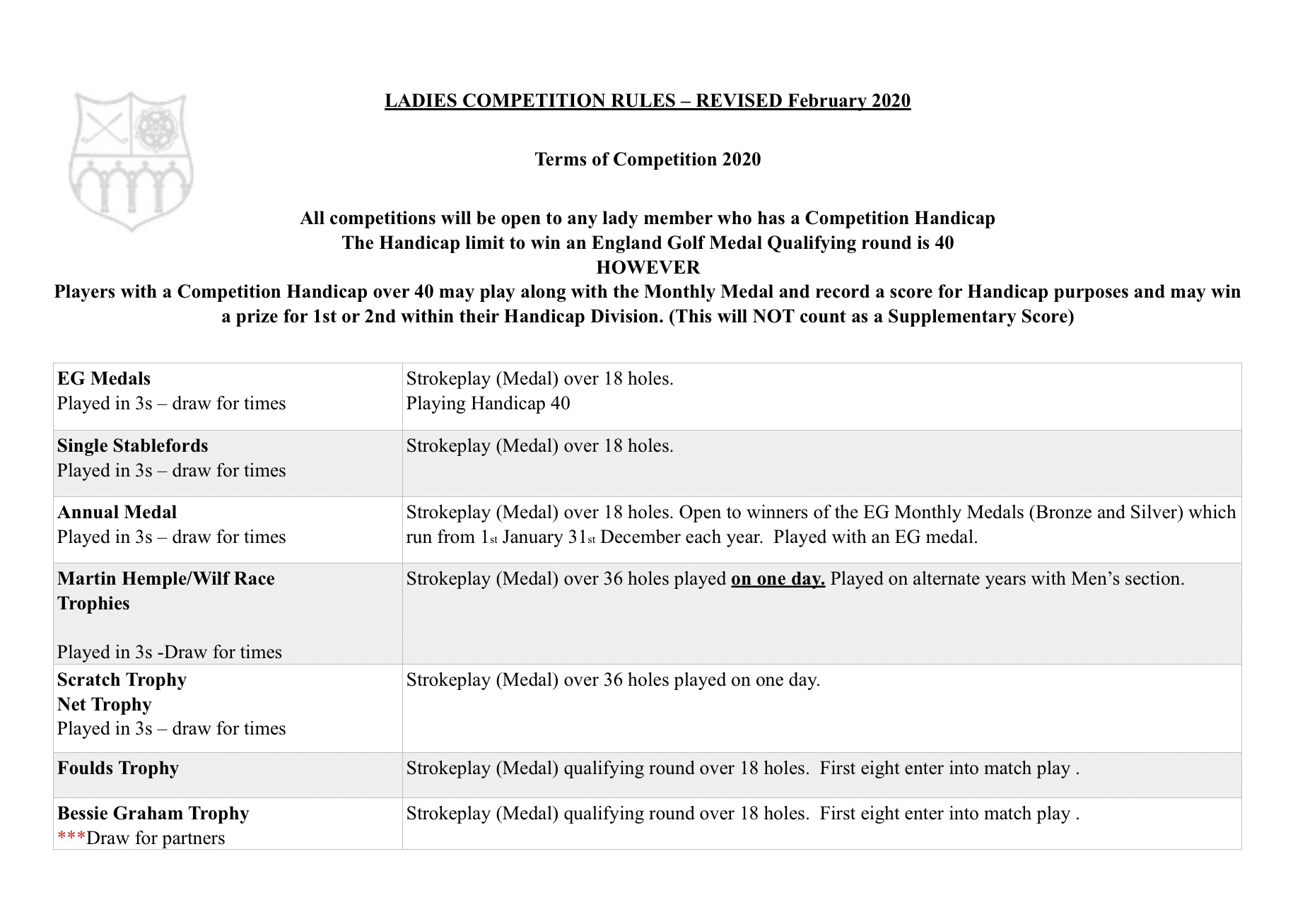 Ladies Competition Rules 1